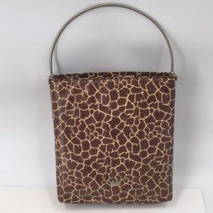 Elaine Turner Giraffe Bucket Tote Metal Handle Bag